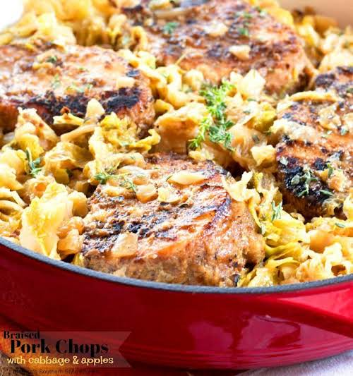 Braised Pork Chops with Cabbage and Apples Pork and cabbage are two...