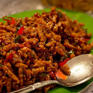 Fried Tempeh in spicy sauce ( Kering tempe ) Indonesian recipes.