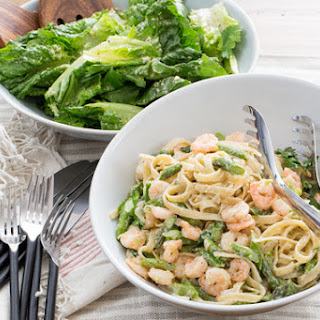 Shrimp Fettuccine Alfredo with Asparagus & Romaine-Parmesan Salad