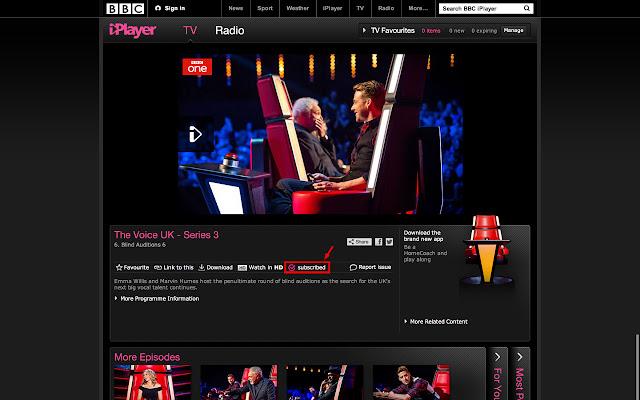 BBC iPlayer subscription manager