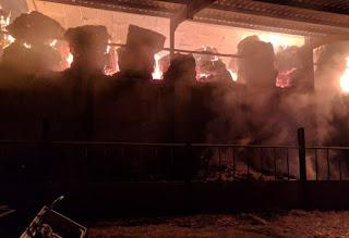 Firefighters battle to control Abermule farm blaze