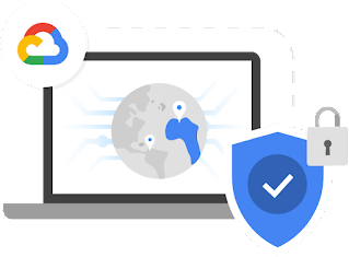 Computer monitor displaying highlighted continent on stylized Earth with a Google Cloud icon in the upper left and a blue shield with a checkmark and locked padlock in the lower right