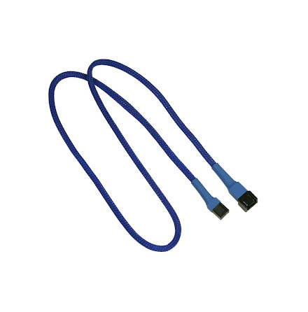 Forlenger, 3 pins vifte, kabelstrømpe, 60 cm, blå