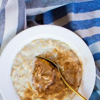 Creamy Banana Oatmeal with Almond Butter & Cinnamon Sugar.