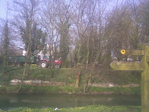 Photo: A tractor on the Jubilee way next to the river Waring. Horncastle is blessed with a good town plan and quality natural open space, the signpost for the Viking Way, forming the Coronation Walk to the SW.