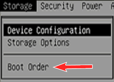 Reboot and Select Proper Boot Device, Boot order