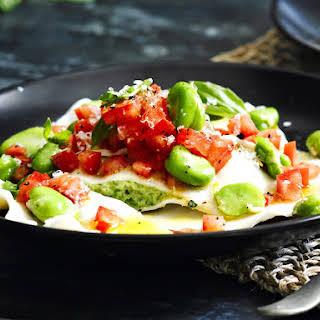 Fava Bean and Parmesan Ravioli.
