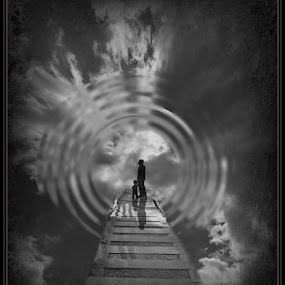 Into the light by Heather G - Digital Art People ( blackandwhite sky people )