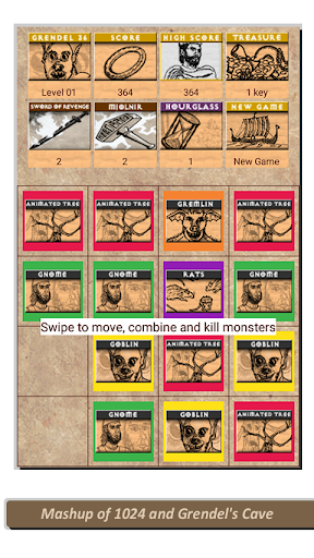 Grendel36 - 2048 Monster Tile Beowulf Puzzle Game android2mod screenshots 1