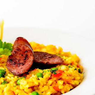 All Whisked Up #2 - Saffron and Paprika Rice with Smoked Andouille Sausage.