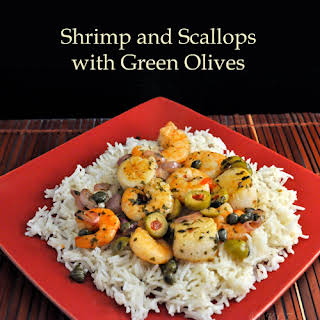 Shrimp, Scallops, Green Olives and Capers on Basmati.