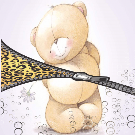 Cute teddy zipper lock screen