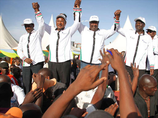 Nasa coalition principals Kalonzo Musyoka, Moses Wetang'ula, Musalia Mudavadi and Raila Odinga during a rally at the Masinde Muliro grounds in Huruma on March 24, 2017