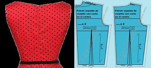 Trazo de espalda para corpiño con escote amplio