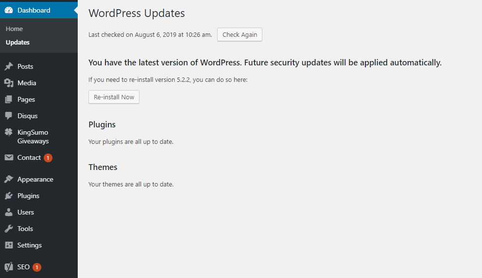 Update wordress security