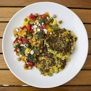 Zucchini Fritters with Mango, Avocado, Broccoli and Chickpea Salad with Feta.