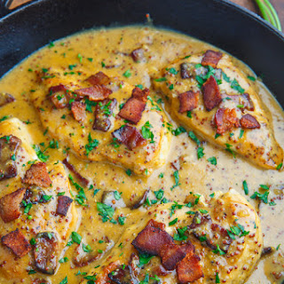 Creamy Bacon Honey Dijon Skillet Chicken.