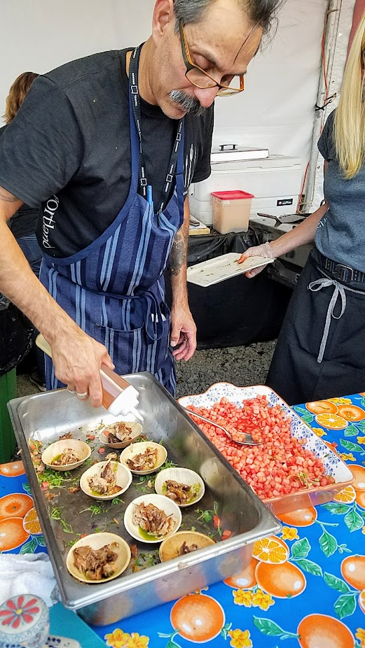 Recap of Feast Night Market 2017: Benjamin Gonzales of Nuestra Cocina brought Chicharron - crispy skin on pork belly, watermelon, honey, micro cilantro and chile poblano sauce