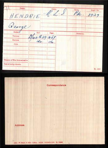 George Hendrie's Medal Index Card