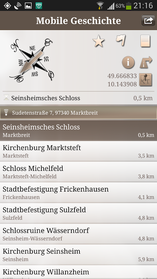 Mobile Geschichte – Screenshot