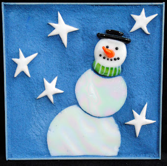 Snowman On A Starry Night Mini Mosaic by Brenda Pokorny