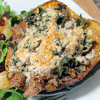 Kale and Sausage Stuffed Acorn Squash