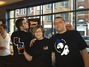 Photo: Rogues of RvB:  Combat Mink and Mangala Solaris wearing their awesome RvB tshirts