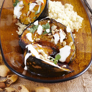 Roasted Squash with Almonds and Pine Nuts.