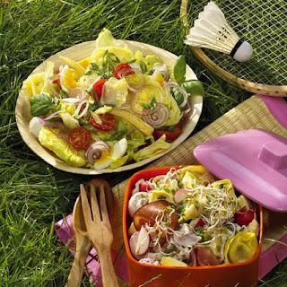 Pasta Salad with Ham, Mushrooms and Radishes.
