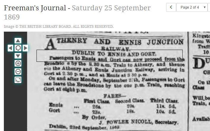 Article in the Freeman's Journal providing info of the first class, second class and third class fares