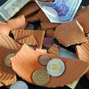 R4S Bank by Ritwick Srivastava - Artistic Objects Other Objects ( hand, mud, coin, piggy, note, currency,  )