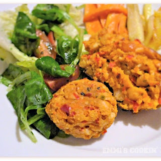 Chickpea Balls With Tofu And Bell Peppers.