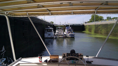 Photo: Rafted up in the Dresden Lock. We were rafted to The Zone.