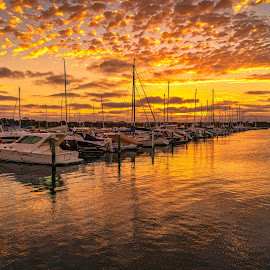 Marina Sunset by Keith Walmsley - Landscapes Sunsets & Sunrises ( victoria, coast, reflection, sunset, australia, boats, clouds, water, landscape )