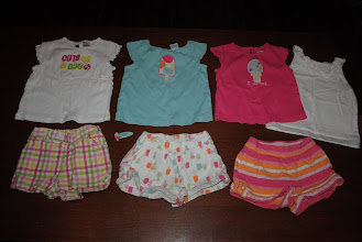 Photo: Three Gymboree Shirts, Size 18-24mo and ONE White (not Gymbo) Tank Top in 24mo. Three pair of Gymoboree Shorts Size 12-18mo. One Popsicle Hair Clip. $32 plus shipping