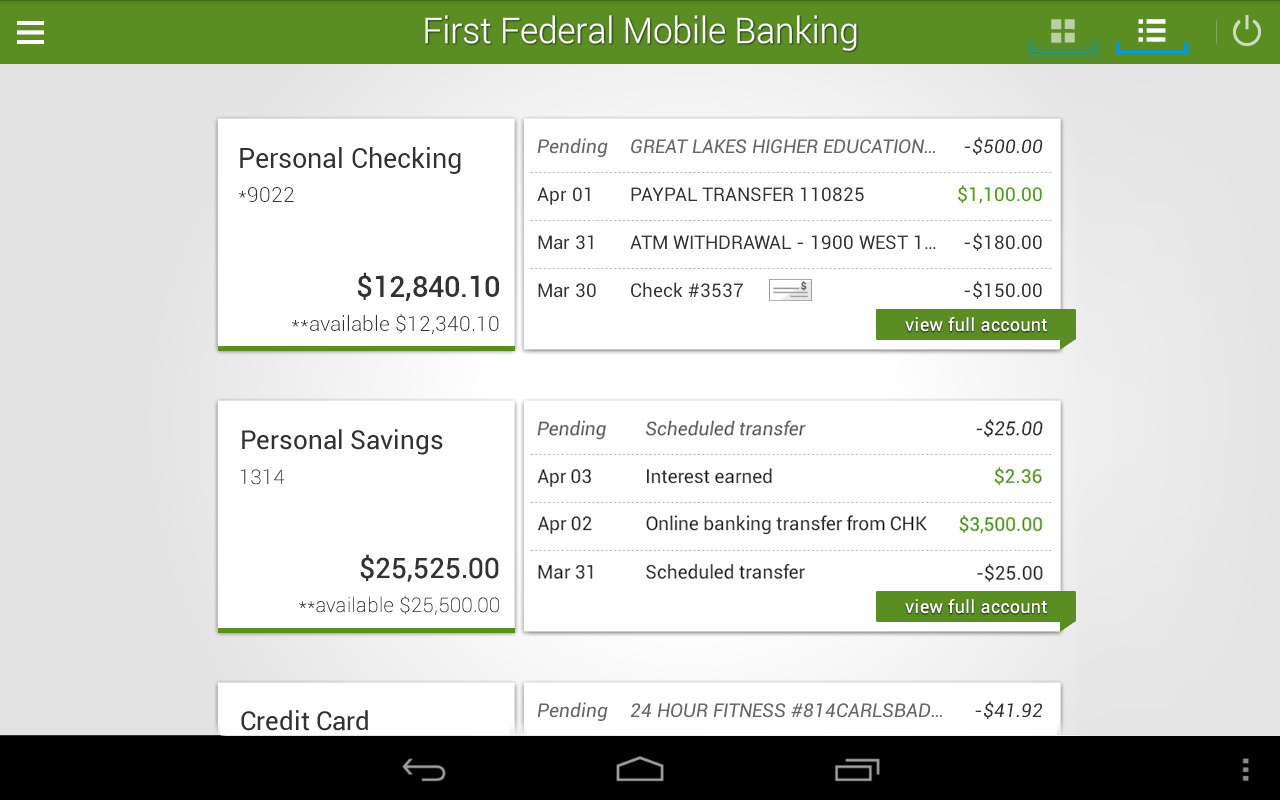 First Federal Mobile Banking- screenshot