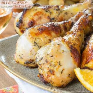 Baked or Grilled Orange Saffron Chicken Legs.