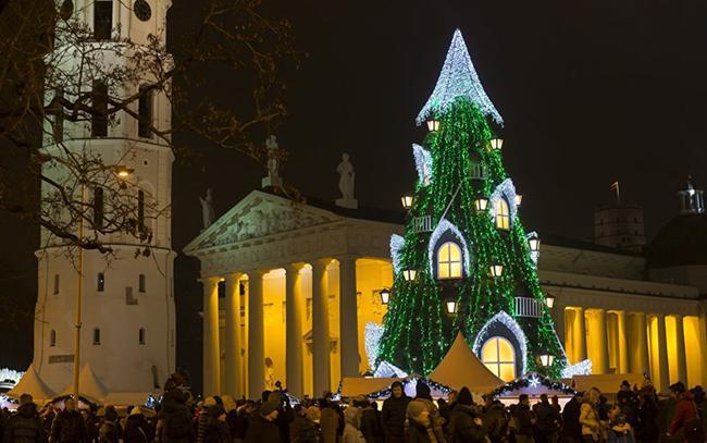 Cây thông Noel trong dịp lễ thắp sáng ở Quảng trường Cathedral, Vilnus, Lithuania.