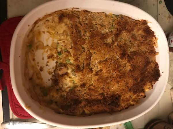 Tuna Casserole. Added Bread Crumbs To The Topping.