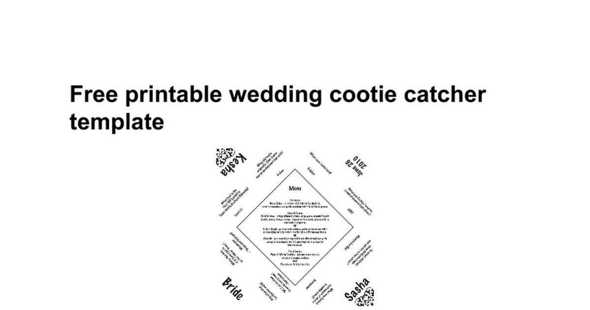 Cootie Catcher Template Word
