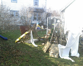 Photo: My son Jeremiah and his friend Michael Gould build tee-pees in the back yard.