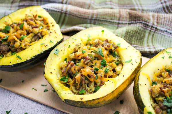Sausage Stuffed Acorn Squash Ready To Be Served.