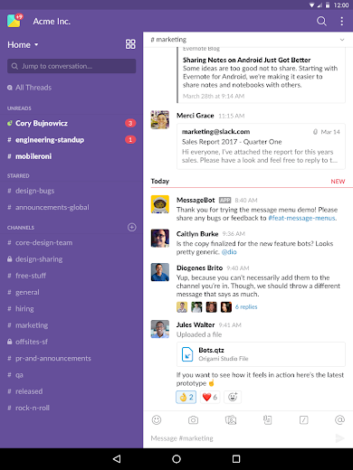 Screenshot 6 for Slack's Android app'