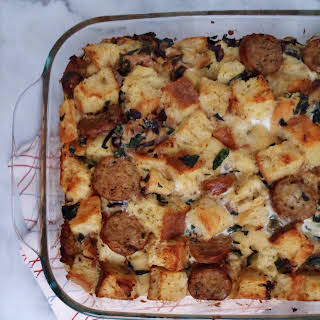 Savory Turkey Sausage & Kale Bread Pudding.