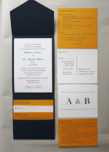 Photo: We printed invitations and three cards (one double sided) for Brianne and An's wedding. Brianne put the cards into the bottom pocket of the envelopes and glued the invitations to the center; it folded up into an attractive package.