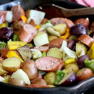 One Pan Little Potato & Sausage Bake.