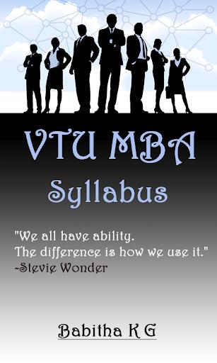 VTU MBA Syllabus
