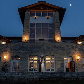 Lied Lodge by Cameron  Cleland - Wedding Bride & Groom ( nature, sunset, wedding, summer )