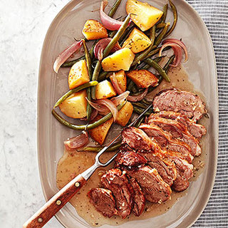 Honey-Rosemary Roast Lamb with Potatoes and Green Beans