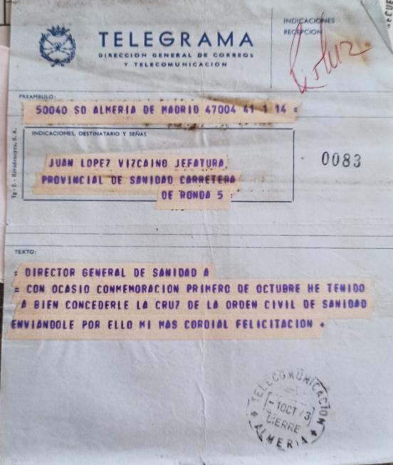 Telegrama del director general de Sanidad comunicándole que se le concedía la Cruz de la Orden Civil de Sanidad.